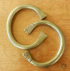 Pair of Traditional Bedouin ankle bracelets - mixed silver.