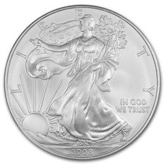USA - $1 - US Mint - 1 oz of 999 silver - silver coin - American silver eagle - 2008 - old vintage
