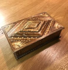 "Box made of straw ""marquetry de paille"" - France - 19th century"