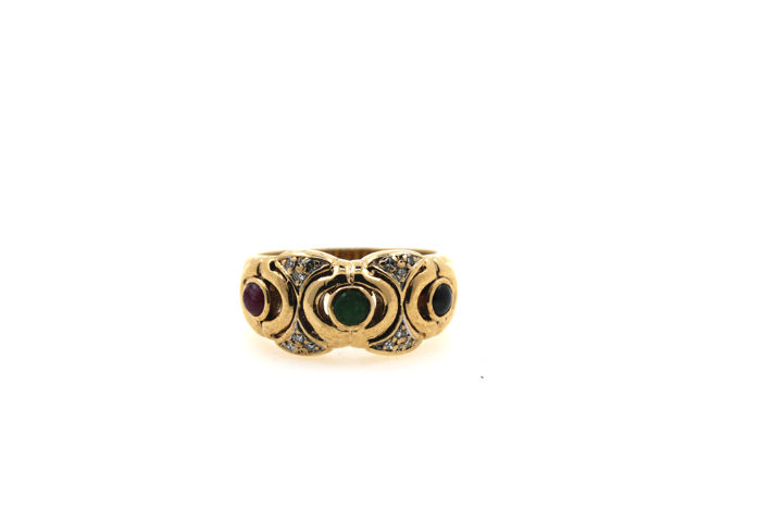 Solid multi women's ring 585/14 kt yellow gold- ruby, emerald, sapphire - diamonds 0.20 ct VSI W - size 56 (EU)