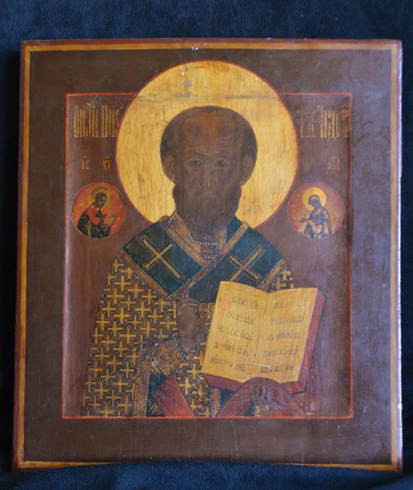 Russian icon Saint Nicholas - Mid 19th century