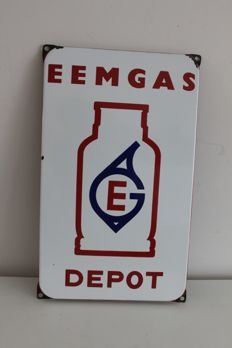 Vintage Enamel Depot advertising sign Eemgas - 1960s