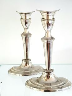 2 beautiful silver plated candle stands with oval foot
