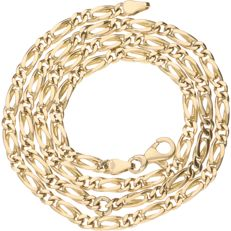 14 kt – Yellow gold Figaro link necklace – Length: 41.5 cm