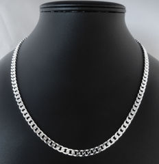 Silver curb link necklace - 55 cm long - 29 g