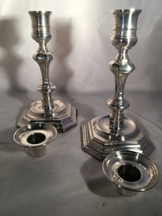 Silver candle stands - Roberts & Belk Ltd - Sheffield - 1977