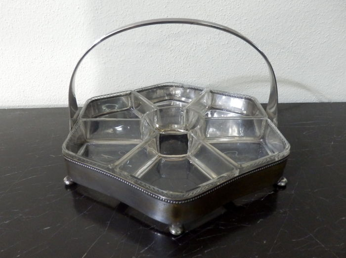 Cut Gass and Silver Plated Appetizers Basket, (1) - Art Deco - Glass/Metal