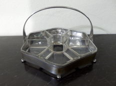 Cut Gass and Silver Plated Appetizers Basket, ca. 1930's