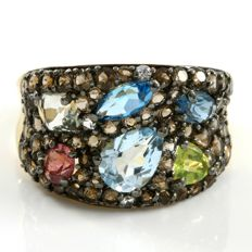 14kt Yellow Gold  1.35 ct  Blue Topaz, 0.10 ct Peridot, 0.10 ct Rhodolite, 0.85 ct Smoky Quartz Ring   - 7 - No Reserve