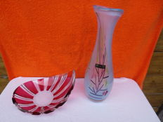 Val St. Lambert - studio glass vase and bowl