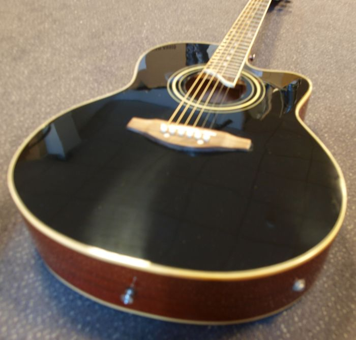 New ChS AW700, electro-acoustic, 7/8 Grand Auditorium, black edition with lacquered back and side