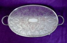 Silver plated and very beautifully decorated English serving tray