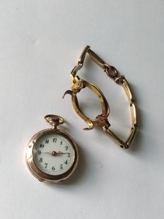 rare pocket watch of the 'Poilu' can turn into wrist watch, works