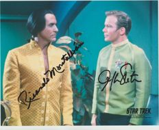 Star Trek TOS - signed 8x10 inch photo - autograph from William Shatner and Ricardo Montalban - UACC dealer COA