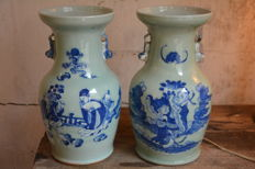 Fine pair blue white ground celadon vases - China - late 19th century