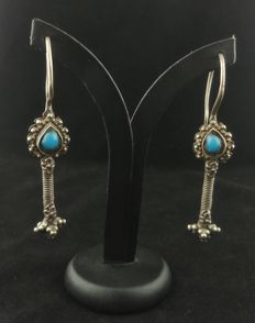 Handmade silver earrings with turquoise - Afghanistan, mid 20th century