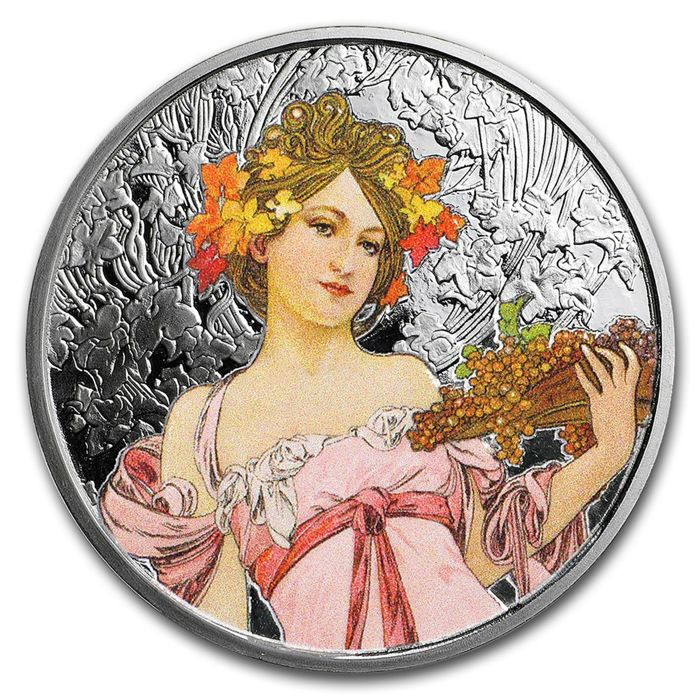 United States - medal 'Alfonse Mucha - Champagne White Star' with colour - 1 oz silver