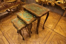 Set of x3 vintage Venetian style tables, second half 20th century