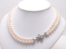 2Row Freshwater Pearlnecklace Featuring A 925 silver Flower Clasp - Authenticity Certificate,  L 46cm