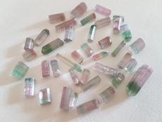 Bi Colour Tourmaline Crystals -  6x4 mm to 18x6 mm - 83 ct