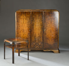 Special cabinet with side table in birch from 1900s - Europe