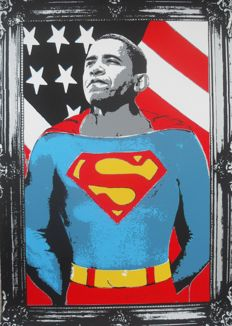 "Mr Brainwash - ""Obama"" (Silver)"