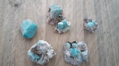 Lot of Beautiful blue Microcline Var: Amazonite crystals with smoky quartz crystals - 58.6 gm (5)
