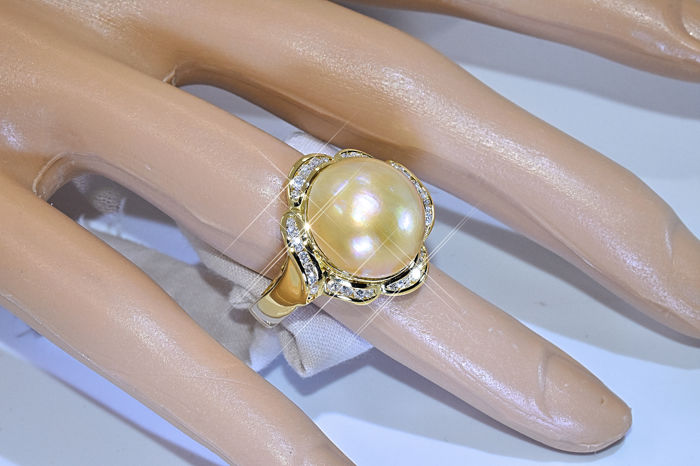hairmasters haircut prices pearl with diamonds ring 18kt yellow gold 33 3254
