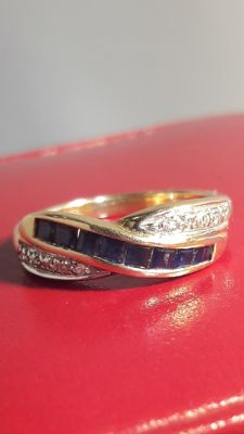 14K gold ring set whit 10 diamonds and 8 sapphire, Size: 16 mm