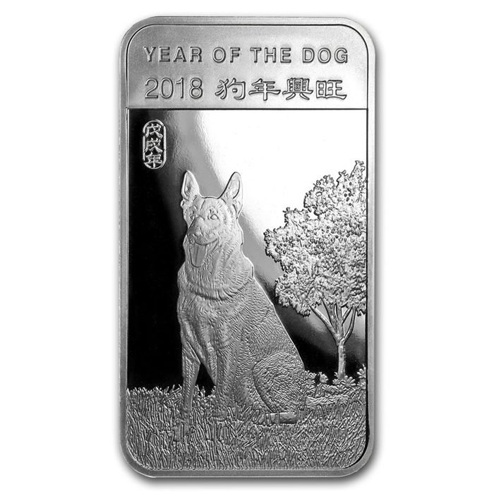 USA - 5 oz 999 silver bar - lunar year of the dog 2018 - 999 fine silver