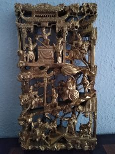 Gold-coloured varnished wooden carvings, war story - China - Republic period (1912 - 1949)