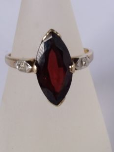 Antique ring with marquise cut tourmaline, 5 ct, dark red colour, clarity VS; and diamonds 0.02 ct, colour J, clarity S1