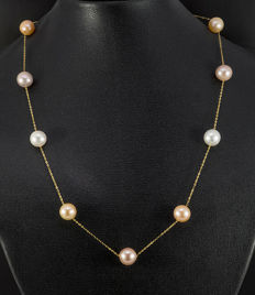 18 kt gold necklace, fine anchor necklace with cultured pearls, multicoloured; length approx. 44 cm; new