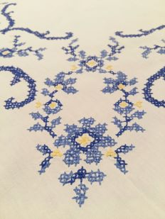 Antique tablecloth handmade with cross stitch