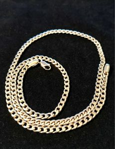 14 kt Yellow gold broad gourmet link necklace – Length: 52.2 cm