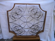 Two grids with wooden frame (coppery metal grids decorated as in picture), Italy, 1960s