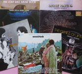 """Bekijk onze Woodstock, """"Three Days of peace and Music"""" in 3 live albums + 6 albums  (including 3 doubles), total 12 lp's by Jimi Hendrix (2), The Who, CSN&Y, Santana, Richie Havens and Joan Baez (2)"""