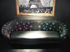 Unknown producer - Black leather sofa with fiber optics and Swarovski crystals