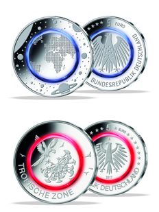 Germany - 5 Euro 2016A 'Blue Planet' + 5 Euro 2017F 'Tropical Zone' - Silver