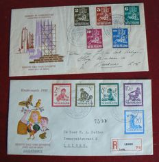 "The Netherlands 1950 – FDC ""Kerken in oorlogstijd en Kind""(Churches in wartime and child) – NVPH E2 and E4."