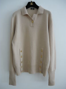 Chanel - Polo-collar jumper - Beige Cashmere