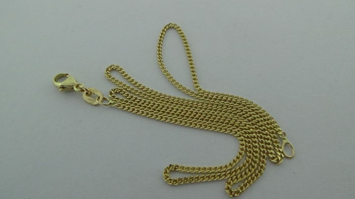 14 kt Gold Curb Link Necklace - Length: 42.5 cm