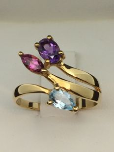 Ring in 750 GOLD with topaz, amethyst and garnet, size: 56.