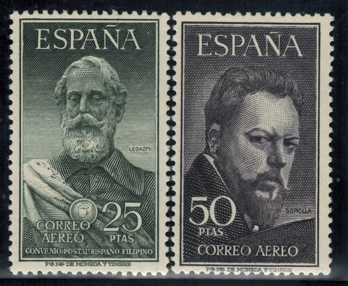 Spain 1953 - Legazpi and Sorolla. CMF Certificate - Edifil 1124/1125