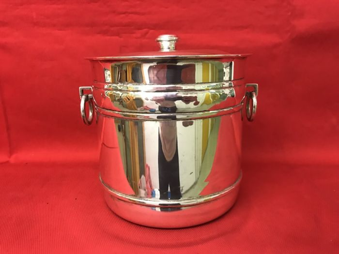 Handmade silver ice bucket with lid - Italy