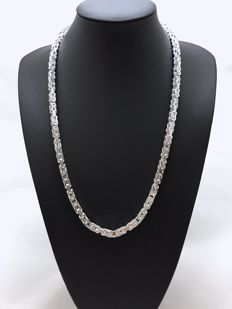 Silver king's braid necklace (925)K - 130 g - 66 cm