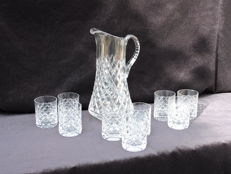 Cut crystal water jug with 9 matching water glasses