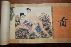 Oriental erotica; paper scroll with 8 Chinese erotic scenes - late 20th century