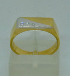 K18 yellow gold Men's ring with diamonds - size:54,5