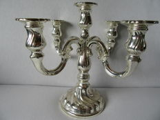 Silver plated five Light candle stand. Germany, 20th century.